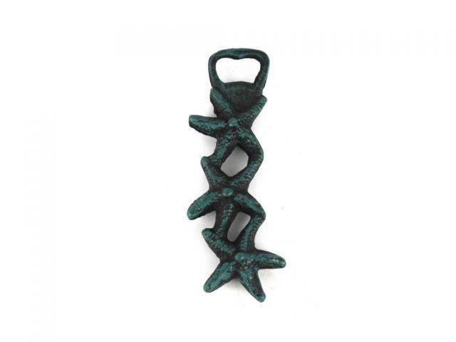 Seaworn Blue Cast Iron Triple Starfish Bottle Opener 7