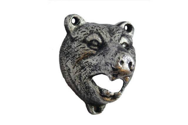 Rustic Silver Cast Iron Bear Bottle Opener 4