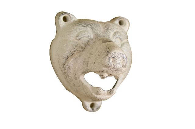 Whitewashed Cast Iron Bear Bottle Opener 4