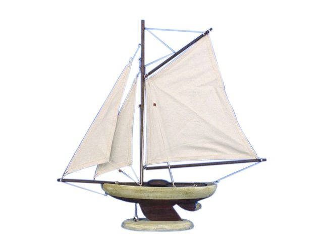 Wooden Rustic Bermuda Sloop Model Sailboat Decoration 17