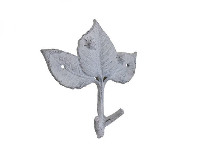 Whitewashed Cast Iron Birch Tree Leaves Decorative Metal Tree Branch Hooks 6.5
