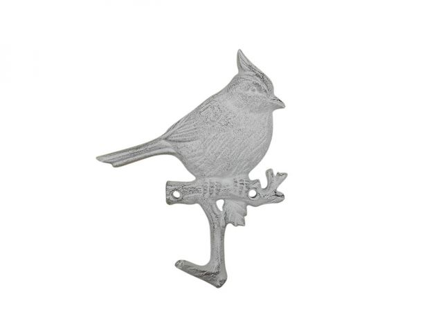 Whitewashed Cast Iron Robin Sitting on a Tree Branch Decorative Metal Wall Hook 6.5