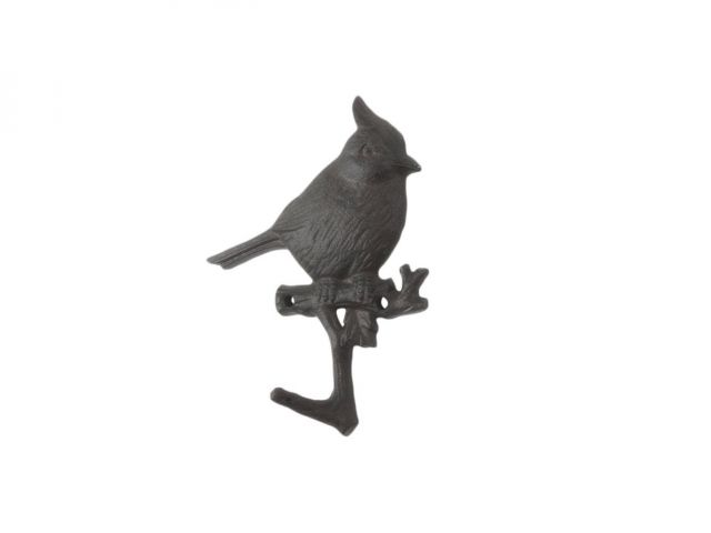 Cast Iron Robin Sitting on a Tree Branch Decorative Metal Wall Hook 6.5
