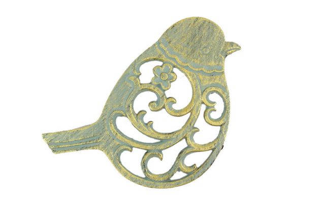 Antique Seaworn Bronze Cast Iron Bird Trivet 8
