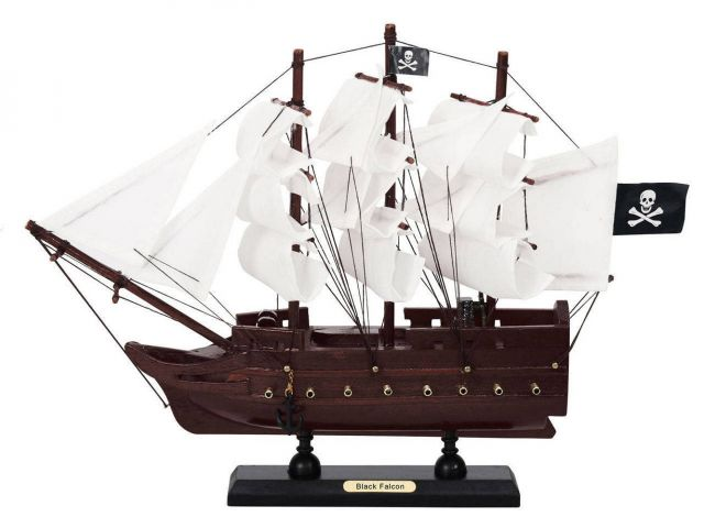 Wooden Captain Kidds Black Falcon White Sails Model Pirate Ship 12