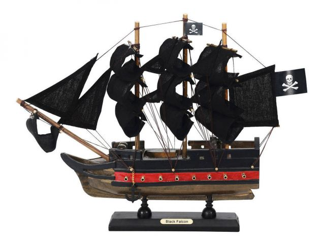 Wooden Captain Kidds Black Falcon Black Sails Limited Model Pirate Ship 12