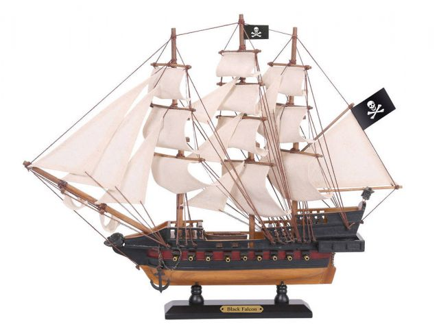 Wooden Captain Kidds Black Falcon White Sails Limited Model Pirate Ship 15