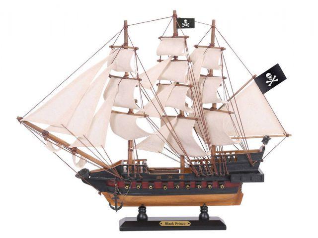 Wooden Ben Franklins Black Prince White Sails Limited Model Pirate Ship 15