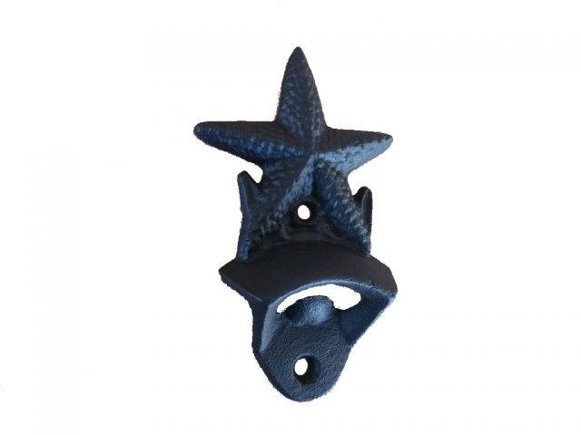 Rustic Black Cast Iron Wall Mounted Starfish Bottle Opener 6