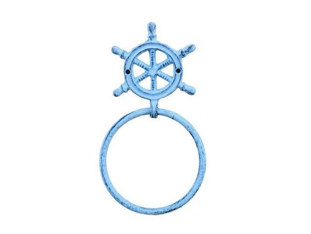 Rustic Dark Blue Whitewashed Cast Iron Ship Wheel Towel Holder 8.5