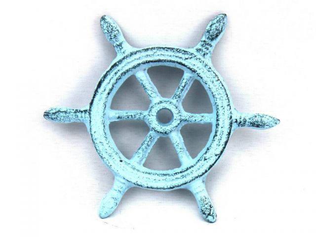 Dark Blue Whitewashed Cast Iron Ship Wheel Decorative Paperweight 4