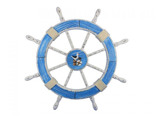 Wooden Rustic Light Blue and White Decorative Ship Wheel With Seagull 30