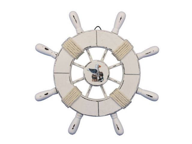 Rustic All White Decorative Ship Wheel With Seagull 9