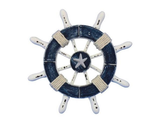 Rustic Dark Blue and White Decorative Ship Wheel With Starfish 6
