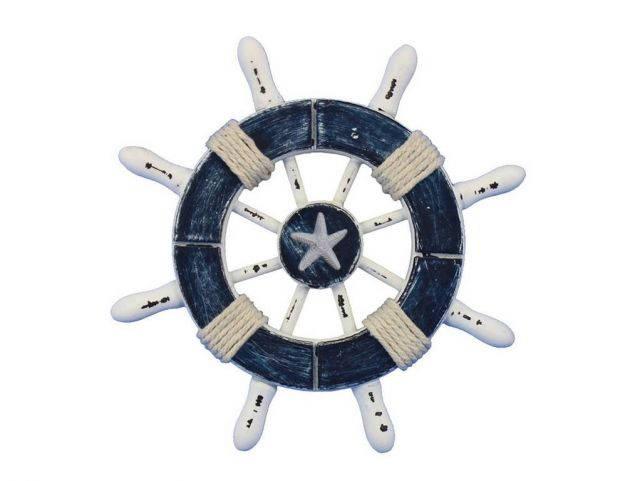Rustic Dark Blue and White Decorative Ship Wheel With Starfish 6