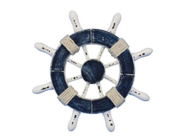 Rustic Dark Blue and White Decorative Ship Wheel 6