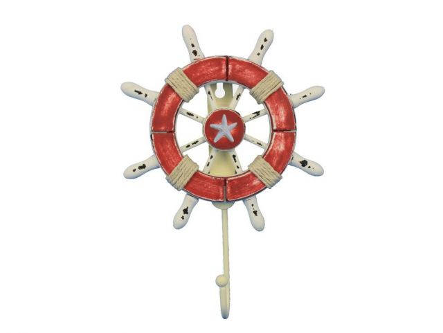 Rustic Red and White Decorative Ship Wheel with Starfish and Hook 8