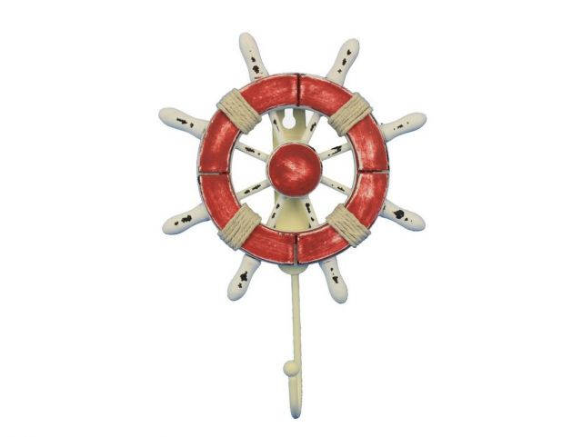 Rustic Red and White Decorative Ship Wheel with Hook 8