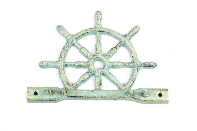 Antique Bronze Cast Iron Ship Wheel With Hook 8