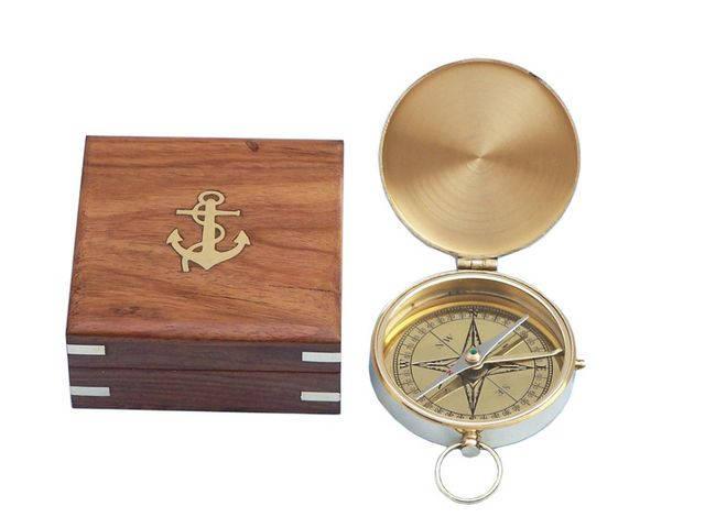 Solid Brass Gentlemens Compass w- Rosewood Box 4