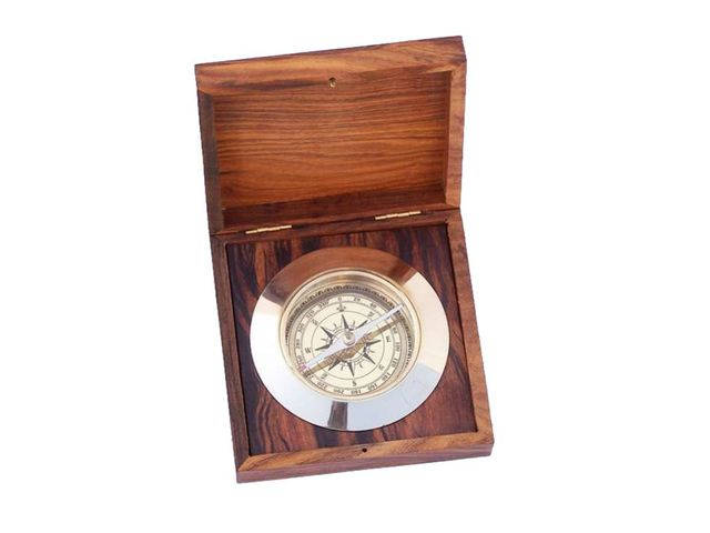 Solid Brass Admirals Desk Compass w- Rosewood Box 5