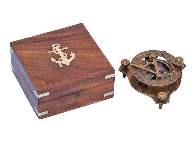Captainandapos;s Antique Brass Triangle Sundial Compass with Rosewood Box 3