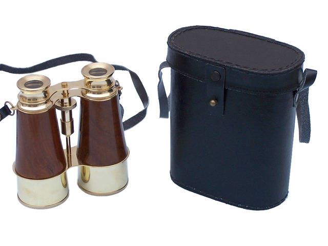 Captainandapos;s Brass and Wood Binoculars with Leather Case 6