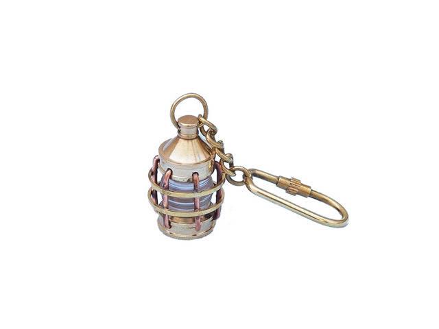 Solid Brass Anchor Clear Lantern Key Chain 5