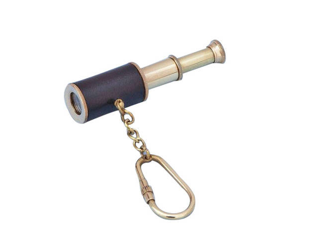 Solid Brass with Leather Spyglass Key Chain 6