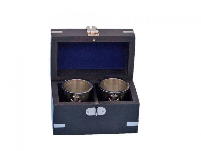 Brushed Nickel Anchor Shot Glasses With Rosewood Box 4 - Set of 2
