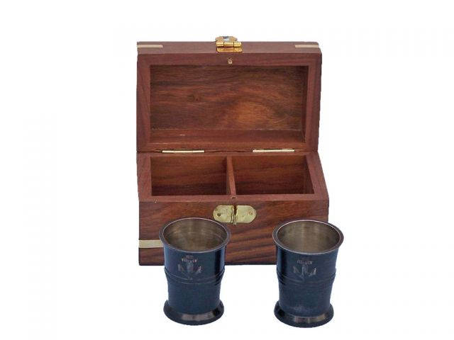 Oil Rubbed Bronze Anchor Shot Glasses With Rosewood Box 4 - Set of 2