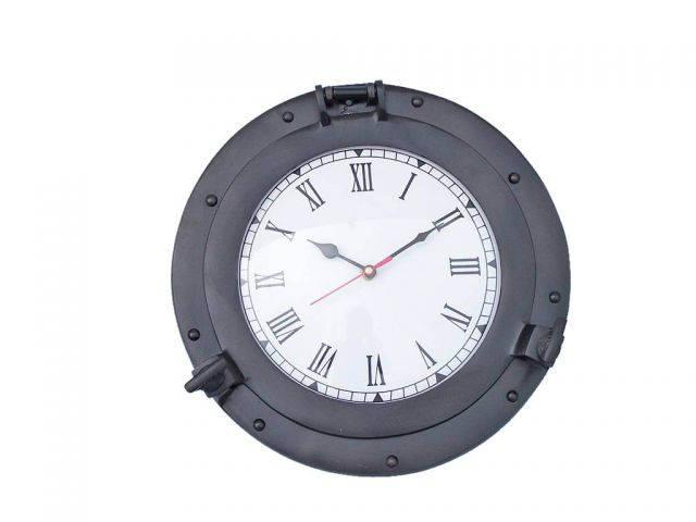 Oil Rubbed Bronze Deluxe Class Porthole Clock 12