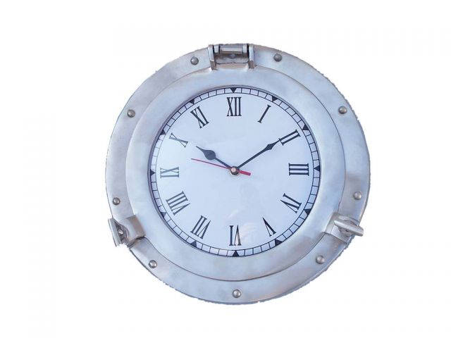 Brushed Nickel Deluxe Class Porthole Clock 12
