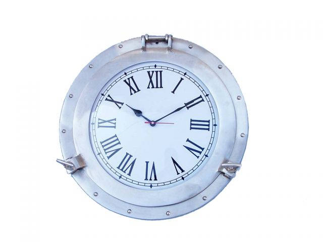 Brushed Nickel Deluxe Class Porthole Clock 17