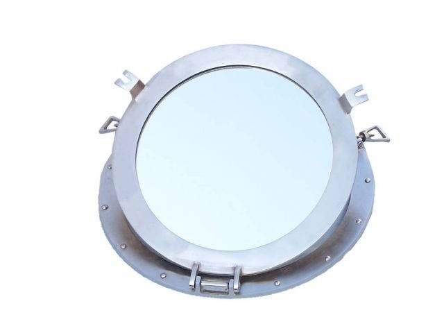 Brushed Nickel Deluxe Class Decorative Ship Porthole Mirror 17