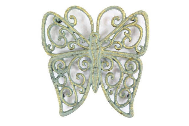 Antique Seaworn Bronze Cast Iron Butterfly Trivet 8
