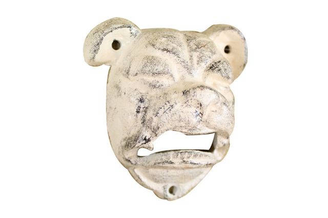 Whitewashed Cast Iron Bulldog Bottle Opener 4