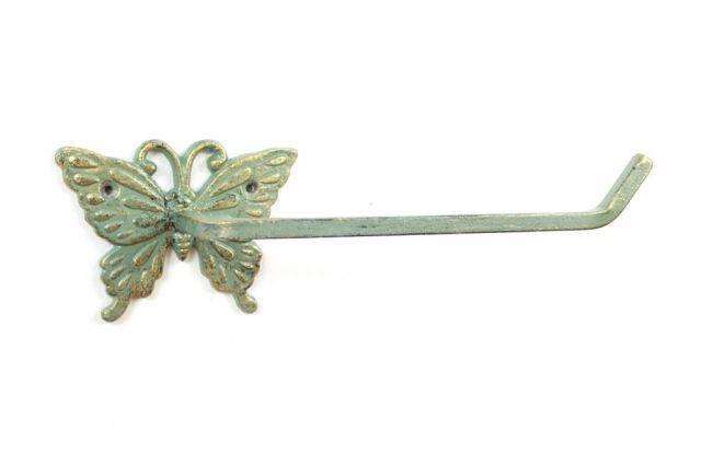 Antique Seaworn Bronze Cast Iron Butterfly Toilet Paper Holder 11