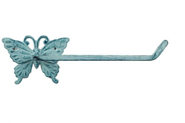 Rustic Dark Blue Whitewashed Cast Iron Butterfly Toilet Paper Holder 11