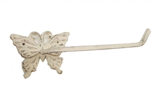 Whitewashed Cast Iron Butterfly Toilet Paper Holder 11