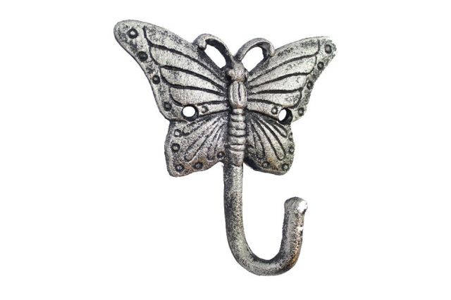 Rustic Silver Cast Iron Butterfly Hook 6