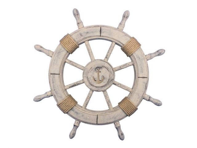 Rustic Decorative Ship Wheel With Anchor 24