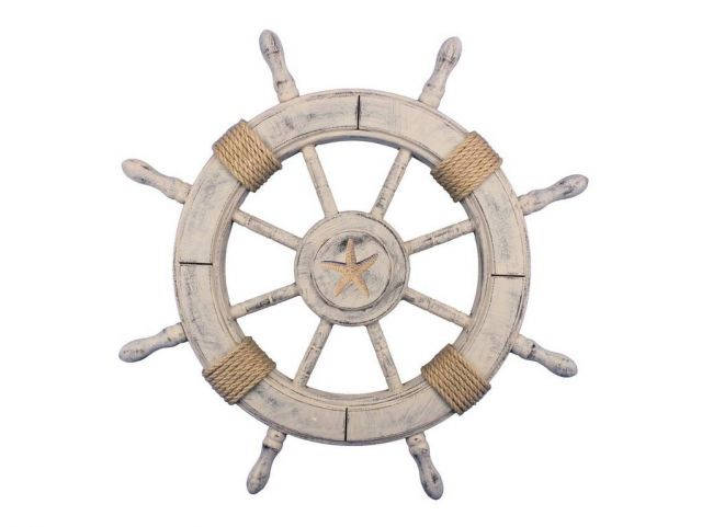 Rustic Decorative Ship Wheel With Starfish 24