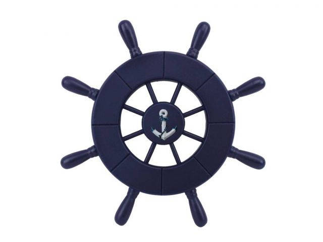 Dark Blue Decorative Ship Wheel With Anchor 9