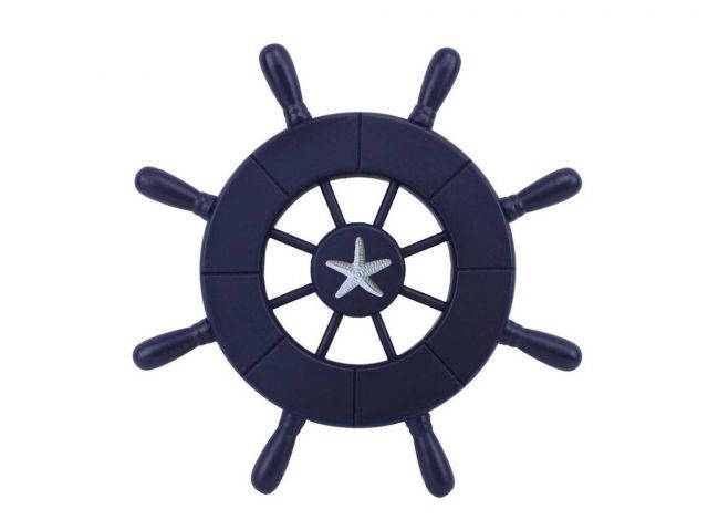 Dark Blue Decorative Ship Wheel With Starfish 9