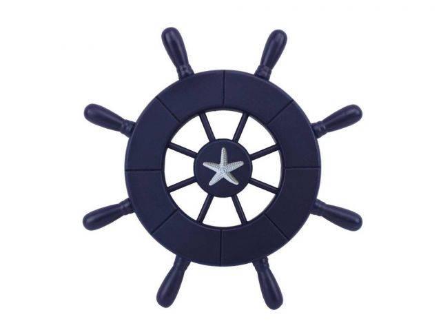 Dark Blue Decorative Ship Wheel With Starfish 9