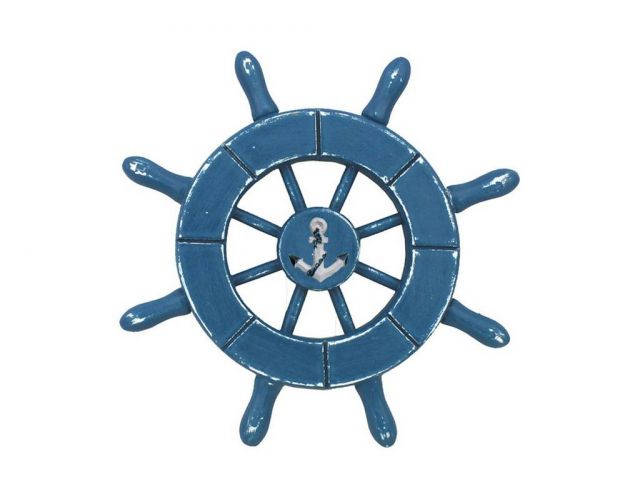 Rustic Light Blue Decorative Ship Wheel With Anchor 6