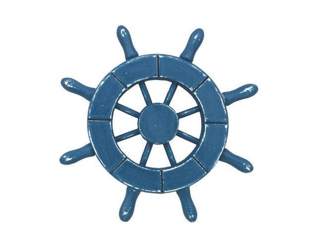 Rustic Light Blue Decorative Ship Wheel 6