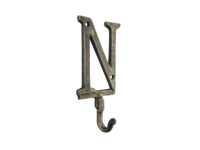 Rustic Gold Cast Iron Letter N Alphabet Wall Hook 6