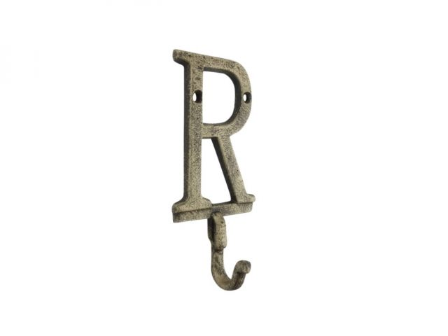 Rustic Gold Cast Iron Letter R Alphabet Wall Hook 6